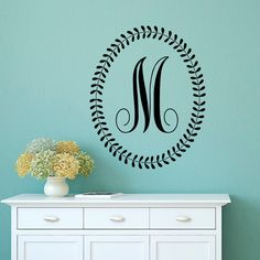 Initial Wall Decal Letters  Personalized Initial Letters Monogram Family  Name Wall Decals Stickers Nursery Bedroom