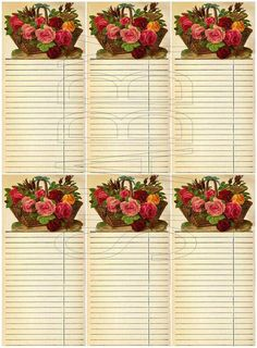 Shabby Chic Basket of Roses Journal Spot Tag Digital Collage sheet for scrapbook and cards  DC678 by shabbybeautiful, $3.50 USD
