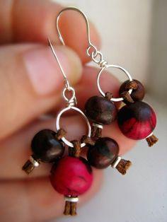 Eco Friendly Earrings Acai Seeds & Sterling Silver - Handmade