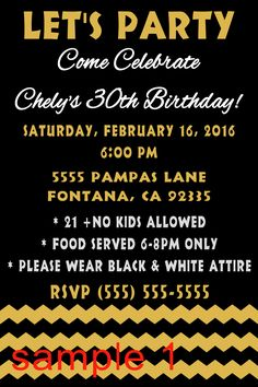 Over the Hill, Milestone, Black & Gold  Birthday Invitation. Click on the image twice to place orders or follow me on facebook. or email me at the address in BIO.