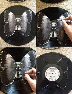 How to make butterfly vinyl records -I have so many old records! Vinyl Record Projects, Vinyl Record Art, Vinyl Art, Record Decor, Record Wall, Cd Crafts, Vinyl Crafts, How To Make Butterfly, Old Vinyl Records