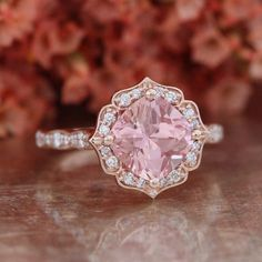 Vintage Floral Champagne Peach Sapphire Engagement Ring 14k Rose Gold Scalloped Diamond Wedding Band 8x8mm Conflict Free Cultured Sapphire