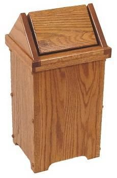 Amish Made Small Oak Flip Top Wood Bathroom Trash Bin