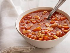Quick and Spicy Tomato Soup : Giada's trick to making this recipe so easy is to either buy your favorite store-bought marinara sauce, or to make your own and use the leftovers for the soup broth.