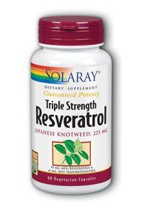Triple Strength Resveratrol 225 mg - 60 - VegCap by Solaray. Save 52 Off!. $15.45. Solaray. Triple Strength Resveratrol is intended to provide nutritive support for cardiovascular health. Triple Strength Resveratrol 225 mg by Solaray 60 VegCap Resveratrol Triple Strength
