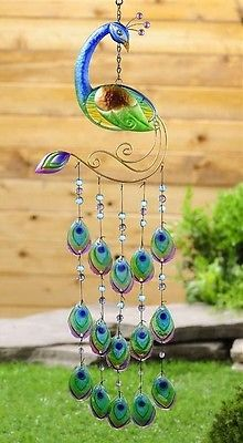 New Turquoise PEACOCK WINDCHIME Garden Patio Decor Accent Terrace Window Art in Home & Garden | eBay