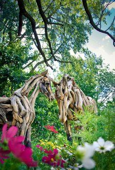 Driftwood horses