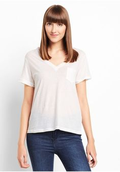Minkpink Insomnia V Neck Tee Damen Basic T-Shirt, weiß, size: S