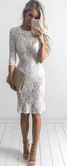 #goddess #kleopatra #eboutique #outfits | White Lace Midi Dress