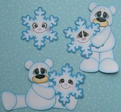 Tear Teddies and Treasure Face Stamps on Snowflakes Christmas Yard Art, Christmas Animals, Christmas Tag, Christmas Projects, Baby Scrapbook, Scrapbook Cards, Scrapbooking, Paper Art, Paper Crafts