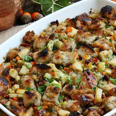 This Apple Pecan Stuffing recipe is a delicious blend of buttery bread cubes, apples, and pecans that is perfect for Thanksgiving!