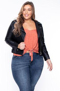Plus Size Ensley Faux Leather Moto Jacket - Black– Curvy Sense Plus Size Leather Jacket, Leather Jacket Outfits, Leather Jackets, Curvy Plus Size, Trendy Plus Size, Curvy Fashion, Plus Size Fashion, American Clothing Brands, Forever 21 T Shirts