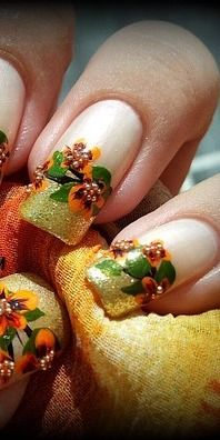 Thanksgiving Nail Art I'd probably choose Warmer colors but over all good look