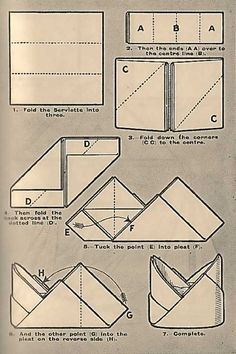 Illustration For The Mitre Napkin Folding Technique