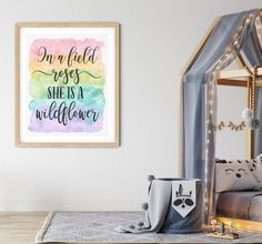 In a Field of Roses She is a Wildflower, Girls Nursery Printable Wall Art by LilaPrints. Baby Girl Nursery Decor, Baby Shower Gift, Girls Room Wall Art #Bibleverse #art #bedroomdecor #artwork