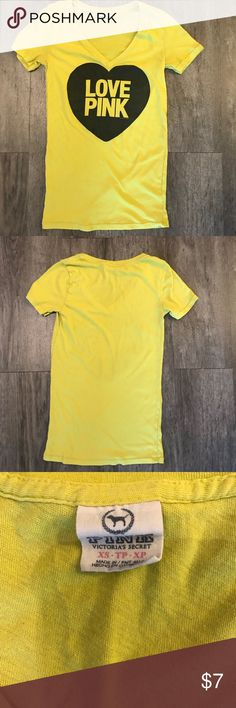 VS PINK T-shirt Love Pink Lemon/lime color VS PINK T-shirt Love Pink Lemon/lime color. Pre-loved condition. No rips, tears, or stains, but there is some piling. PINK Victoria's Secret Tops Tees - Short Sleeve