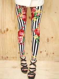 AsiaJam.com Fashion Boutique   Rose Garden Stripe Leggings