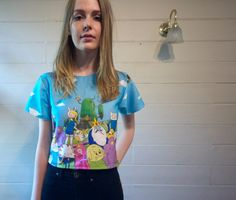 handmade Adventure Time Cropped Tee has some stretch in it tie up back so it can fit a range of sizes i have another one available which is just clouds