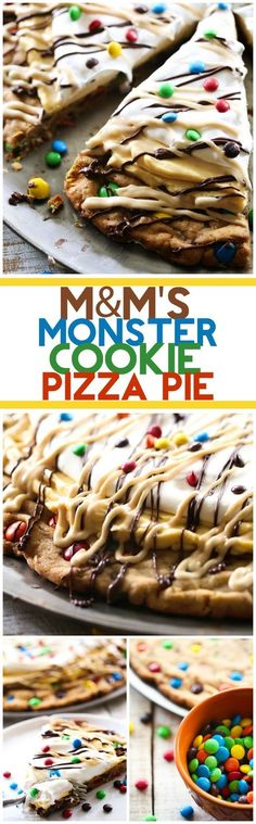 This MandM'S Monster Cookie Pizza Pie is the ultimate dessert! It is peanut butter chocolate heaven!This MandM'S Monster Cookie Pizza Pie is the ultimate dessert! It is peanut butter chocolate heaven! Desserts Nutella, Just Desserts, Delicious Desserts, Yummy Food, Baking Recipes, Cookie Recipes, Dessert Recipes, Yummy Treats, Sweet Treats