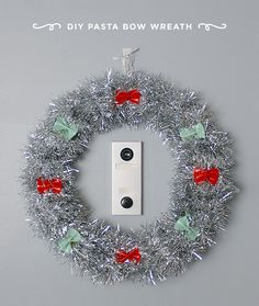What a fun way to decorate for the holidays. A DIY pasta bow wreath by @lil_white_whale!