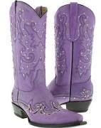Women's Cowboy Boots Ladies Dance Leather Studded Western, Purple
