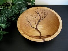 Wooden Bowl- Rising Tree, Wedding Gift, Salad Bowl, Beech Wood, Pyrography, Woodburning via Etsy