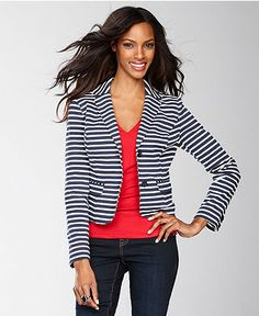 INC International Concepts Jacket, Striped Blazer - Womens Jackets ...