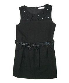Look at this #zulilyfind! Black Nala Belted Wool-Blend Dress - Toddler & Girls by Mini Treasure Kids #zulilyfinds