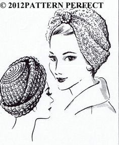 Vintage STUNNING Crochet Turban Hat Head Wrap Fascinator Crochet Pattern 5130 #PATTERNPERFECT5130