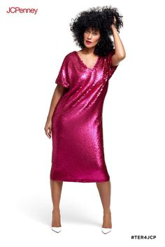 c3e6a73101c Turn up the glam with this hot pink matte sequin dress by Tracee Ellis Ross  for