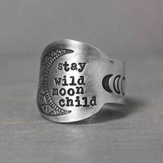Stay Wild Moon Child Ring boho jewelry boho chi Jewelry that inspires you to live your best by PureImpressions Boho Rings, Boho Jewelry, Jewelry Gifts, Jewelry Accessories, Fine Jewelry, Jewellery, Western Jewelry, Gothic Jewelry, Jewelry Ideas