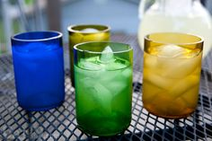 Recycled Wine Bottle Tumblers: Set of four colorful glasses made from recycled wine bottles. Cutting Wine Bottles, Recycled Wine Bottles, Bottle Cutting, Wine Bottle Crafts, Wine Bottle Glasses, Rosie The Riveter, Ceramic Pottery, Crafts To Make, Wine Glass