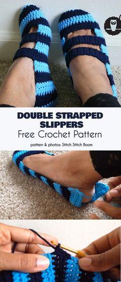 Double Strapped Slippers Free Crochet Pattern Knitting For BeginnersKnitting HumorCrochet PatternsCrochet Ideas Knitting Projects, Crochet Projects, Knitting Patterns, Crochet Patterns, Diy Crochet, Crochet Crafts, Crochet Baby, Crochet Slipper Pattern, Crochet Slippers