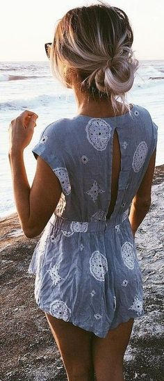 #summer #girly #outfits | Grey Print Playsuit