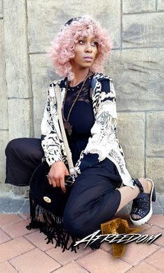 Hair by Afreedom Fashions. Outfit styled by Afreedom Fashions. Photography by White Hair, Pink Hair, Pink White, African Inspired Fashion, African Fashion, African Hair, Street Fashion, Photo Galleries, Street Style