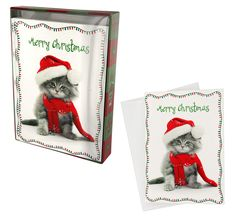 Wrapped Up Christmas Kitty - Box of 15 Cards at The Animal Rescue Site