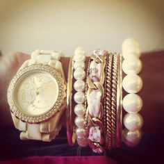 Arm candy with Hello Kitty watch. #armcandy #Armparty #hellokitty www.dirtybombshells.com