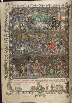 The Romance of Alexander in French verse, with miniatures illustrating legends of Alexander the Great and with marginal scenes of everyday life, by the Flemish illuminator Jehan de Grise and his workshop, with two sections added in England c. Medieval Life, Medieval Art, Medieval Manuscript, Illuminated Manuscript, Medieval Paintings, Alexander The Great, Historical Art, 14th Century, Gravure