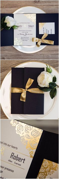 classic vintage gold and black foiled pocket wedding invitations ewws199