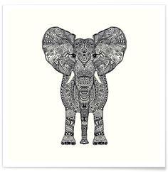 Aztec Elephant als Premium Poster von Monika Strigel | JUNIQE