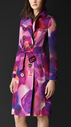 Burberry Prorsum Berry Floral Print Silk Cotton Trench Coat - A double breasted trench coat in printed silk cotton.  The floral artwork is painted in the Burberry studio before being printed onto the lightweight fabric.  Discover the women's outerwear collection at Burberry.com