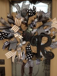 Hey, I found this really awesome Etsy listing at https://www.etsy.com/listing/248579206/personalized-burlap-wreath-with-black