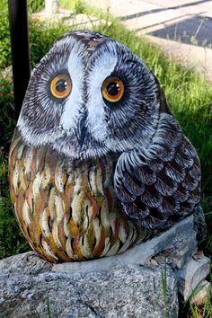 Painted rocks owl, wild rock art painting