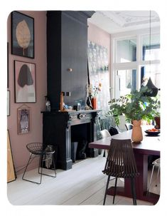 Dining room ~ETS (black fireplace with pink walls and art gallery wall. Interior Decorating, Interior Design, Basement Decorating, Decorating Ideas, Decor Ideas, Basement Ideas, Sweet Home, Living Spaces, Living Room