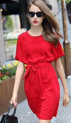 Red Pocket Detail Bowknot Waist Short Sleeve Dress