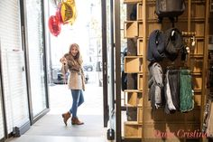 Cristina Ferreira looks really happy with her warm sheepskin coat and Push-In jeans! #salsajeans #bloggers