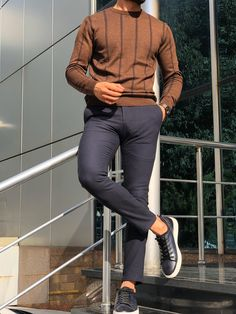 GentWith Melvin Brown Slim Fit Striped Crew Neck Sweater - Gent With Casual Wear For Men, Work Casual, Teenage Boy Fashion, Semi Formal Wear, Mens Slacks, Outfits Hombre, Beautiful Men Faces, My Guy, Casual Outfits