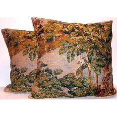 These multi-colored period toile scene pillows will enliven any room of the home. The throw pillows are crafted of cotton and linen with polyester fill.