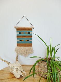 """Handwoven Tapestry / Wall Hanging / Weaving """"Sky and Earth Chevron"""""""