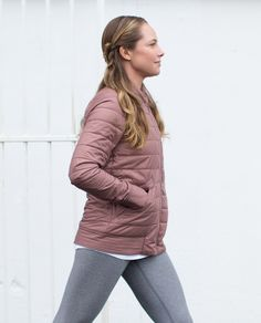 This reversible, lightweight puffy jacket is perfect for iffy weather. One side helps keep us dry with  water- and wind-resistant fabric, while the other side is made from soft jersey fabric that's soft against our skin. Did someone say singing in the rain?